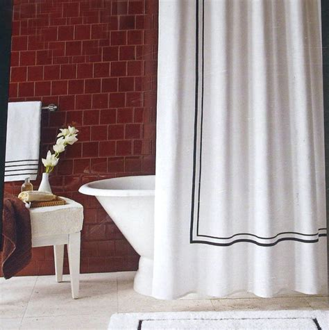 White Shower Curtain With Black Border   Home Design Ideas
