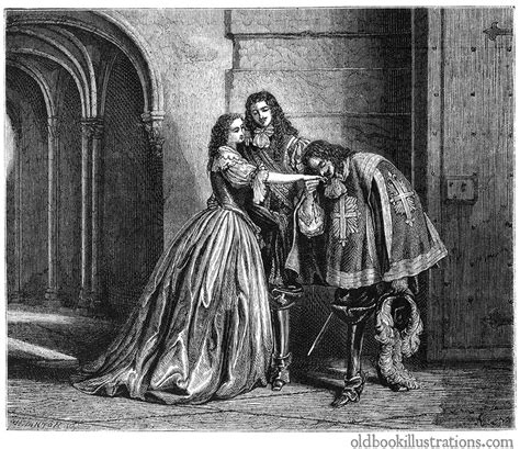 Musketeer Kissing a Lady's Hand – Old Book Illustrations