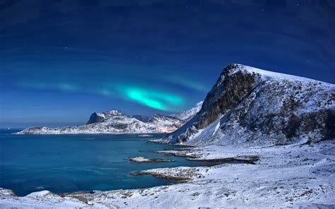 Winter Landscape With Snow Mountains More Northern Light