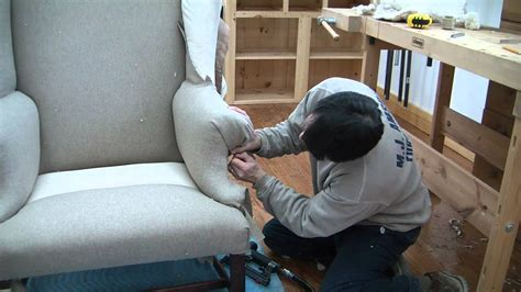 How To Reupholster A Wing Chair pt 18 - YouTube