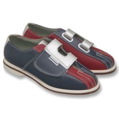 Velcro Tenpin Bowling Shoes in Leather - Blue Silver & red