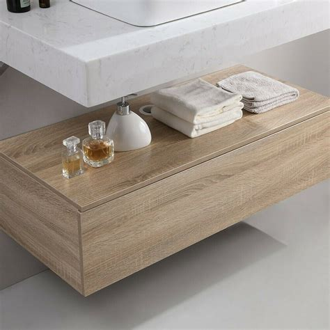 Homary 36 Inch Floating Bathroom Vanity with Faux Marble