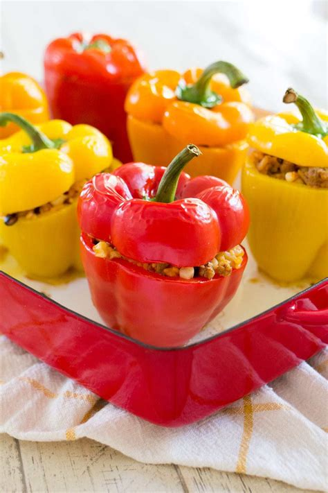 Easy Mexican Stuffed Peppers with Turkey and Rice • Freutcake