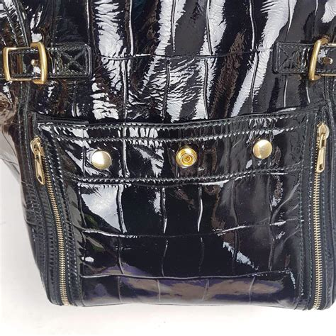 YSL Downtown Croc Embossed Patent Leather Bag   LVBagaholic