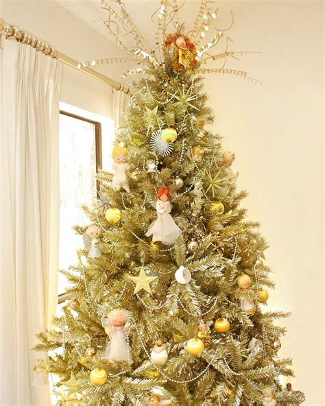 Toasted Champagne Gold Tinsel Artificial Christmas Tree